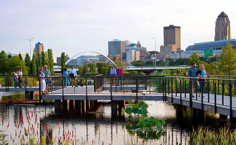 View of Downtown Des Moines from Botanical Garden
