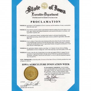 Iowa Agriculture Innovation Week Proclamation